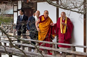 His Holiness the Dalai Lama walking to the residential quarters at the Kongobuji Temple in Koyasan, Japan on April 13, 2014. Photo/Office of Tibet, Japan
