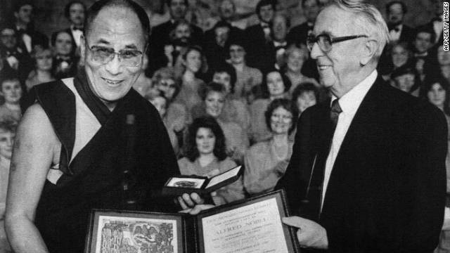 His Holiness the Dalai Lama accepts the Nobel Peace Prize in 1989