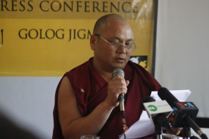 Golog Jigme speaking at the press conference.