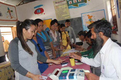 Tibetans casting their vote