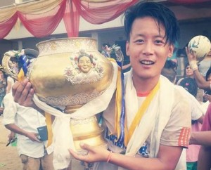 Pokhra FC's Norbu Dorjee, the highest scorer and player of the tournament with the GCM gold cup. (Photo: GCM)