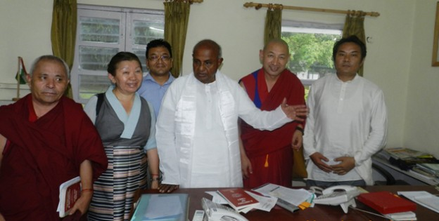 The Tibetan Parliamentary delegation meets H D Deve Gowda, former prime minister of India and a member of Parliament, in New Delhi, on 16 July 2014