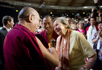 His Holiness the Dalai Lama with Ama Wäger during his visit to Salzburg, Austria on May 21, 2012. Photo/Tenzin Choejor/OHHDL
