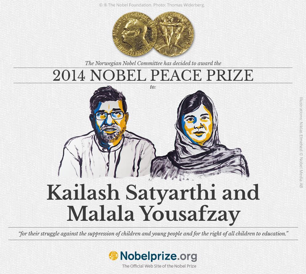 Malala Yousafzai and Kailash Satyarthi announced joint winners of 2014 Nobel Peace Prize