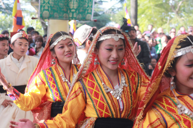 Tibetan girls performing a local Himachali song.
