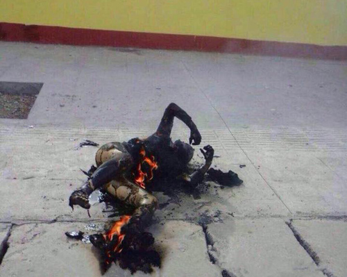 Tsepe's charred body after the self-immolation.