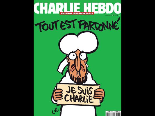 """The cover of the upcoming """"survivors"""" edition of the French satirical weekly """"Charlie Hebdo.""""(Photo: AFP/Getty Images)"""