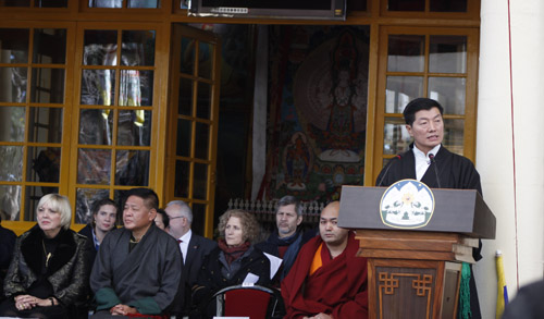 Sikyong Dr Lobsang Sangay addressing the gathering at the 56th anniversary of the Tibetan National Uprising day.