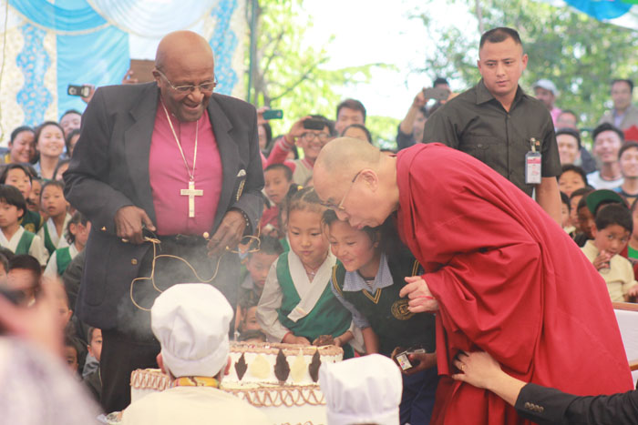 His Holiness and Arch Bishop Desmond TuTu visits Upper TCV School for birthday celebrations