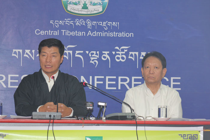 Sikyong Dr Lobsang Sangay (left) with Mr Trinley Gyatso, Secretary of the Department of Finance at the press conference.