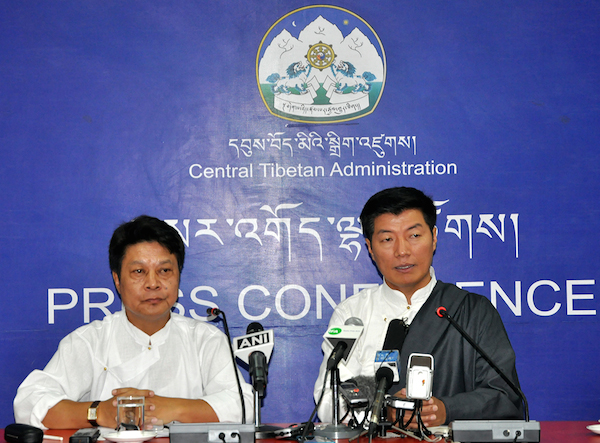 Sikyong Sangay (R) and DIIR Secretary Mr Tashi Phuntsok at the press conference.