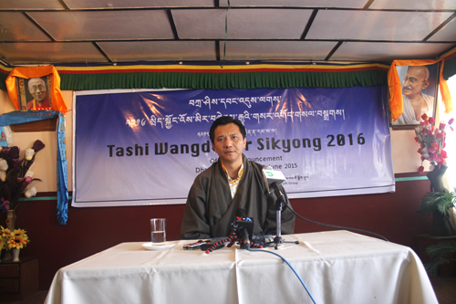Tashi Wangdu speaking to media persons at the press conference.