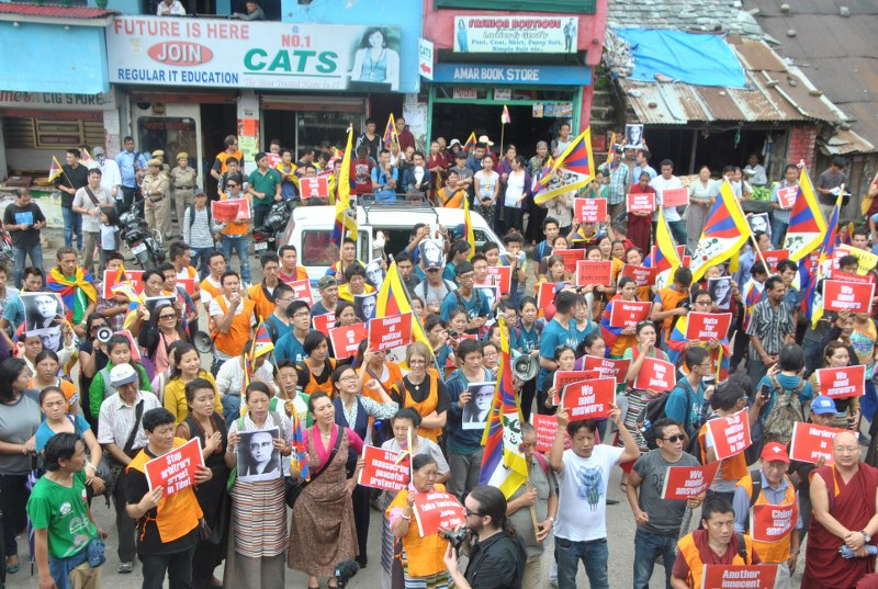 Tibetans in Dharamsala march to demand justice for Trulku Tenzin Delek Rinpoche and his family