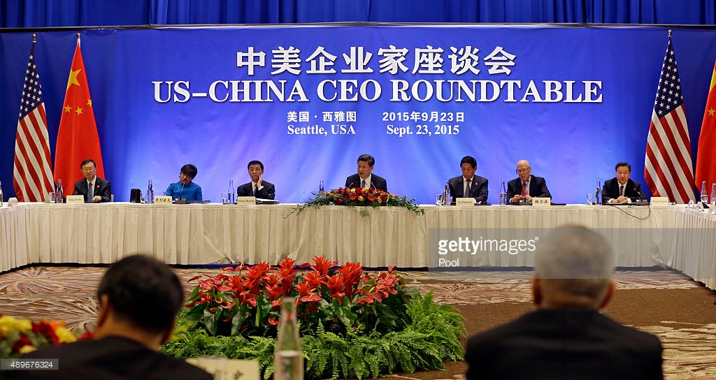 Chinese President Xi Jinping, center, addresses a U.S.-China business roundtable, comprised of U.S. and Chinese CEOs on September 23, 2015, in Seattle, Washington. The Paulson Institute, in partnership with the China Council for the Promotion of International Trade, co-hosted the event.