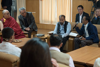 Akran Shah speaking during the second panel discussion of the AEI Symposium at His Holiness the Dalai Lama's residence in Dharamsala, HP, India on November 4, 2015. Photo/Tenzin Choejor/OHHDL