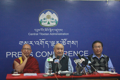 Election Commissioner Sonam Choephel Shosur (centre) flanked by his assistants on both sides.