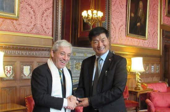 Sikyong Lobsang Sangay and Speaker of the House of Commons, John Bercow during their meeting at the Parliament House, Nov 1 . Image: tibet.net