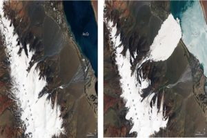 Aru Range before and after the avalanche. Image- NASA