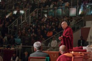 His Holiness the Dalai Lama speaking at the inaugural Vidyaloke public talk at Talkatora Stadium in New Delhi, India on February 5, 2017. Photo/Tenzin Choejor/OHHDL