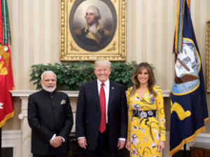 Prime Minister Narendra Modi with President of United States of America (USA), Donald Trump and the first lady of USA, Melania Trump at White House.