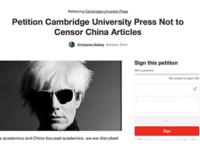 Scholars urge Cambridge University Press to revert decision or face boycott