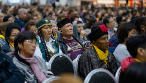 Members of the audience listening to His Holiness the Dalai Lama's teaching at Skonto Hall in Riga, Latvia on September 23, 2017. Photo by Tenzin Choejor