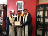 From left to right: New Representative, Ngodup Tsering, Representative of South America, Tsewang Phuntsok and outgoing Representative Penpa Tsering.