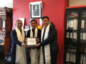 From left to right: New Representative, Ngodup Tsering, Representative of South America, Tsewang Phuntsok and outgoing Representative Penpa Tsering.
